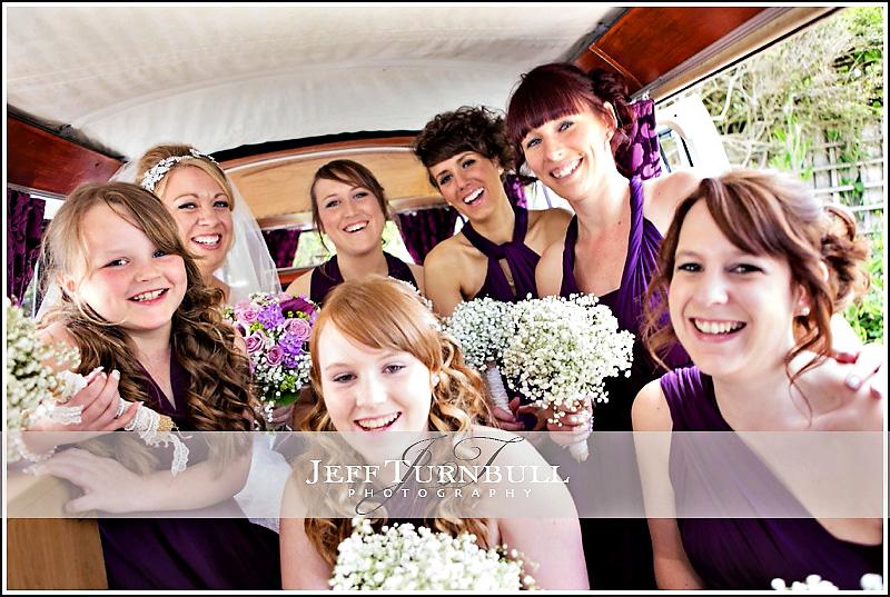 Bride and Bridesmaids in Camper Van