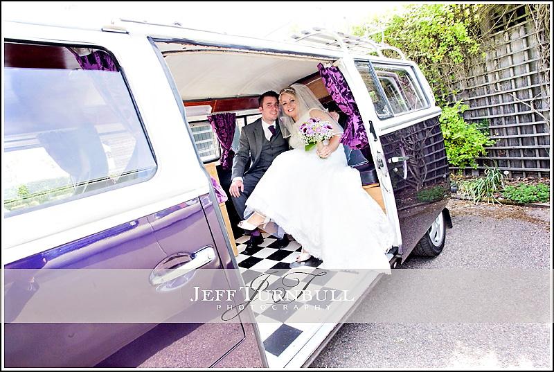 Bride and Groom inside Camper Van