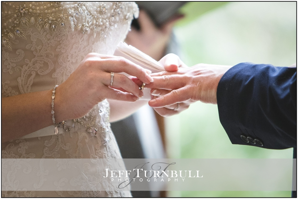 Bride putting the grooms wedding ring