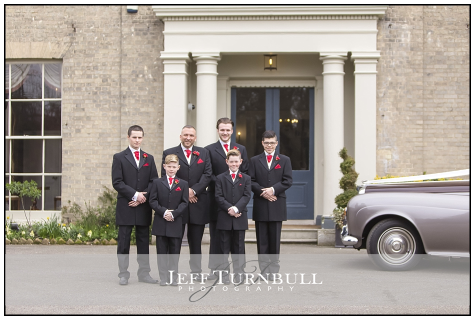 Groom and Ushers Outside The Fennes Wedding venue