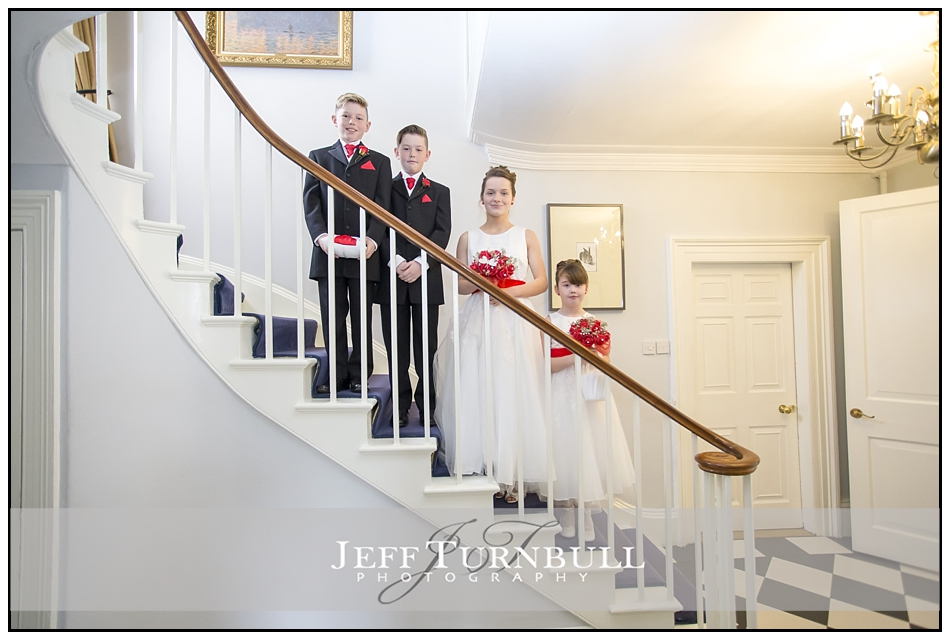 Bridesmaids Pageboys on a Staircase