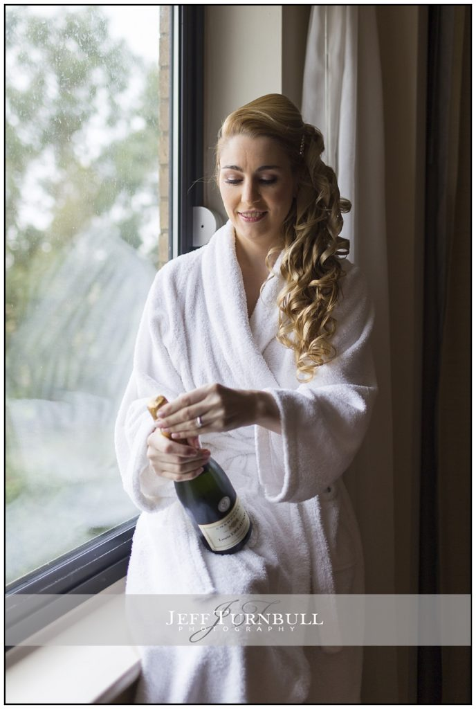 Bride and Champagne at Five Lakes Hotel