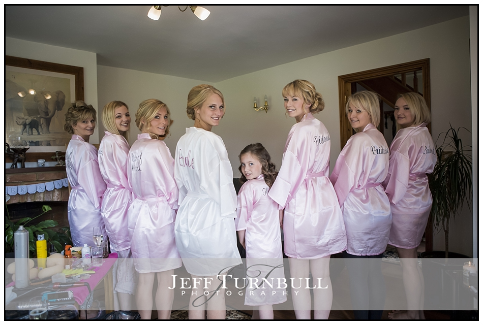 Bride and Braidsmaids in dressing gowns