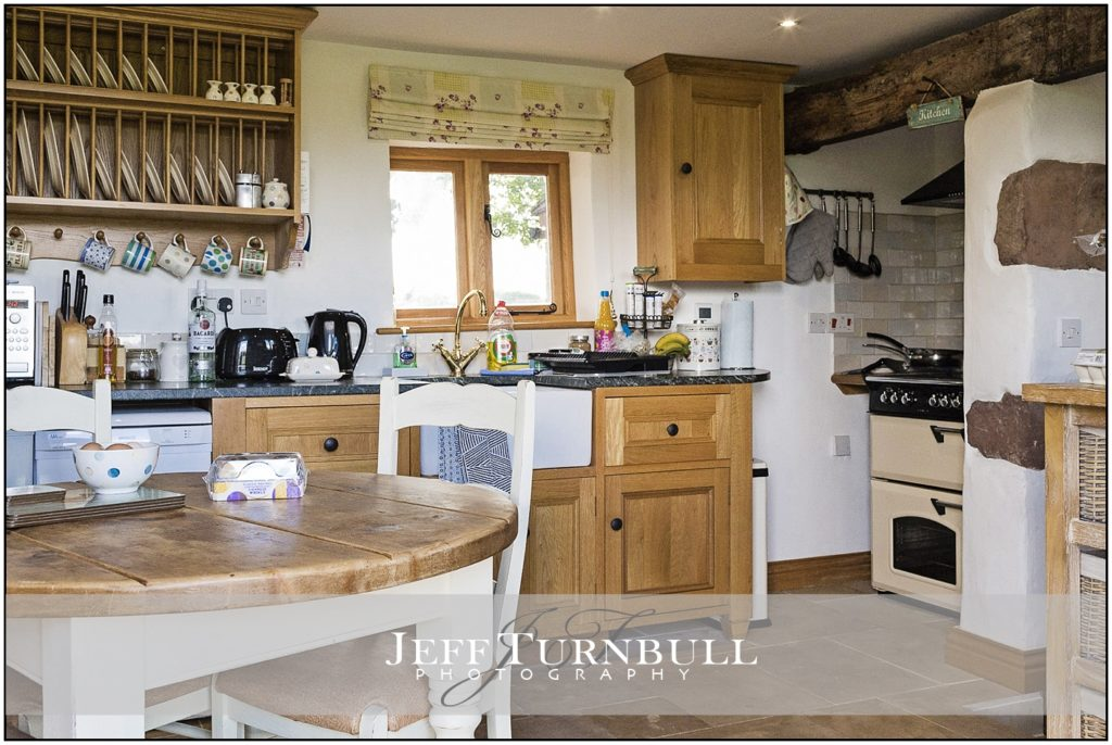 The kitchen at the Shooting Folly in Cheswardine