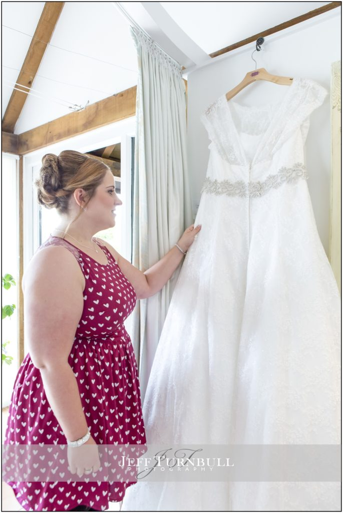 Bride and her Dress High House Weddings