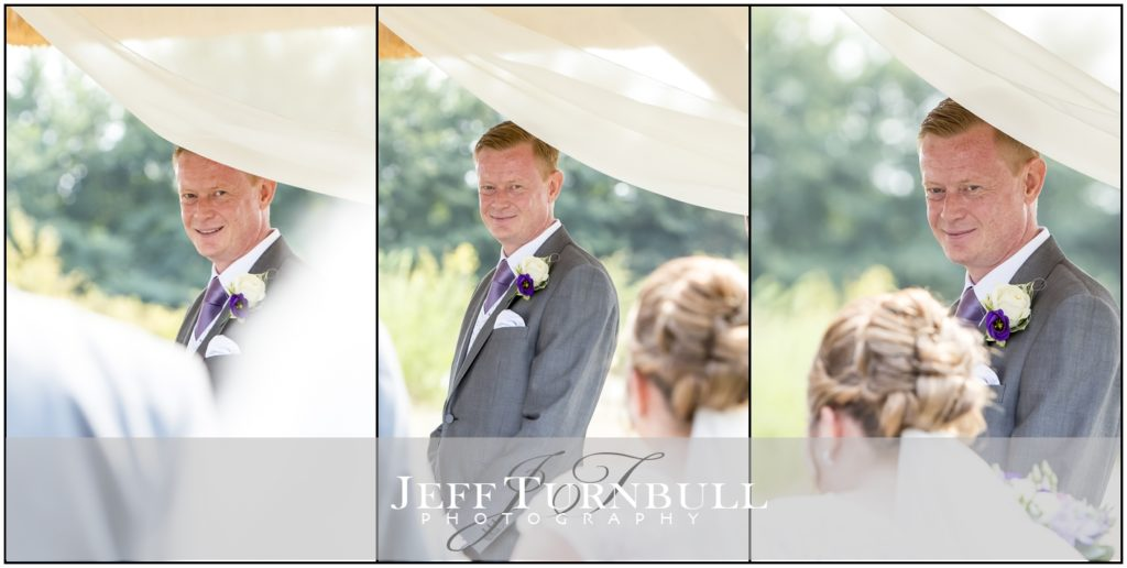 Groom's First look at Bride High House Wedding Venue