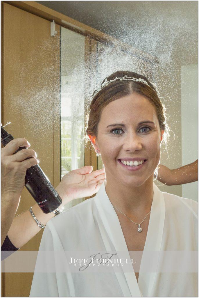 Bride Hairspray Shot