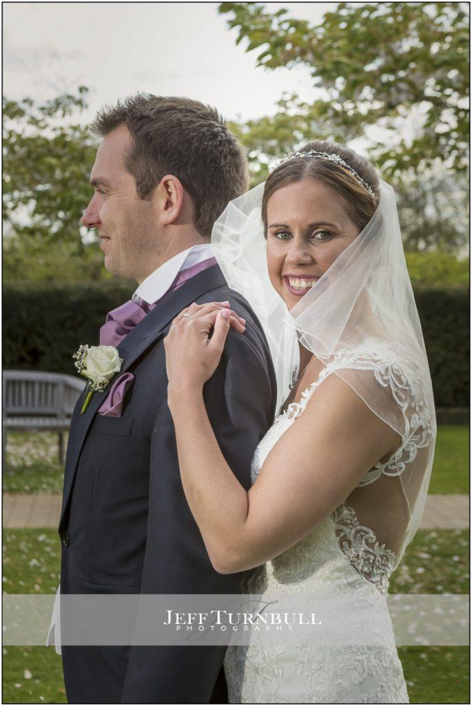 Bride and Groom Portrait Maidens Barn Wedding Venue