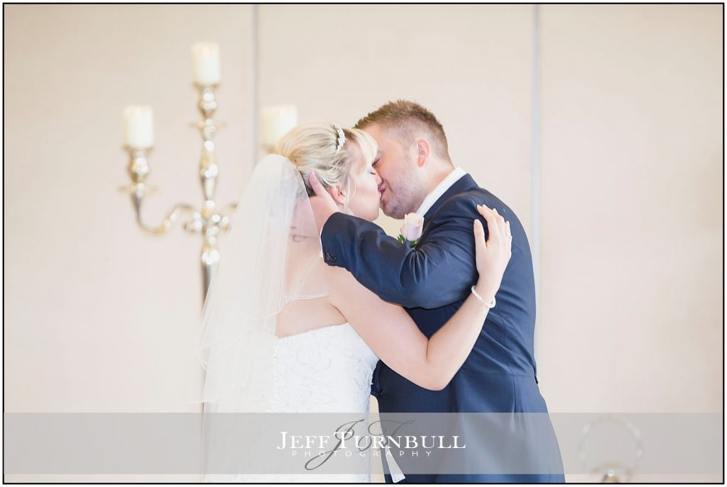 Bride and Groom Kissing Friern Manor Autumn Wedding