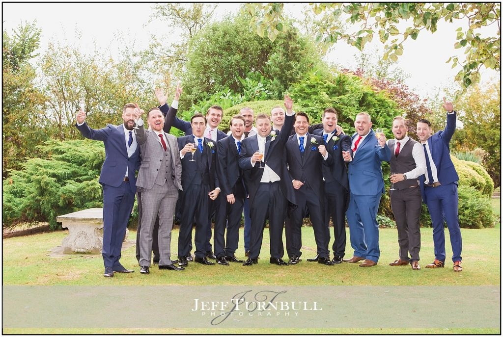 Groom and the Lads Friern Manor Autumn Wedding