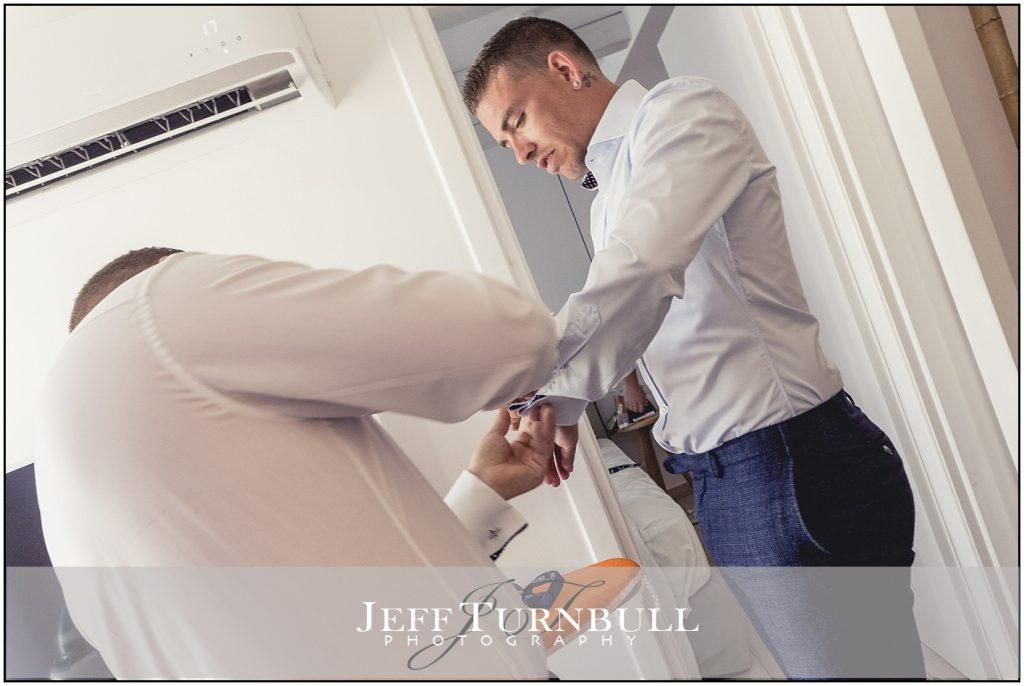 Groom Prep Santorini Wedding