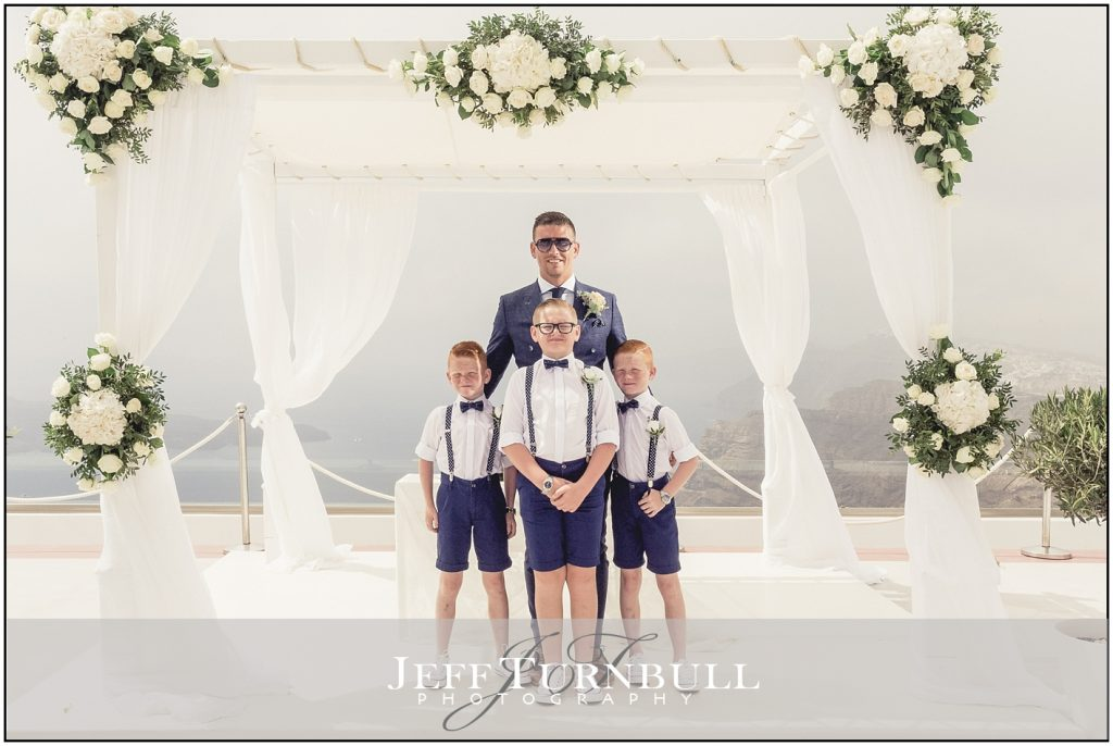 Groom and Pageboys Santorini Gem Wedding Photography