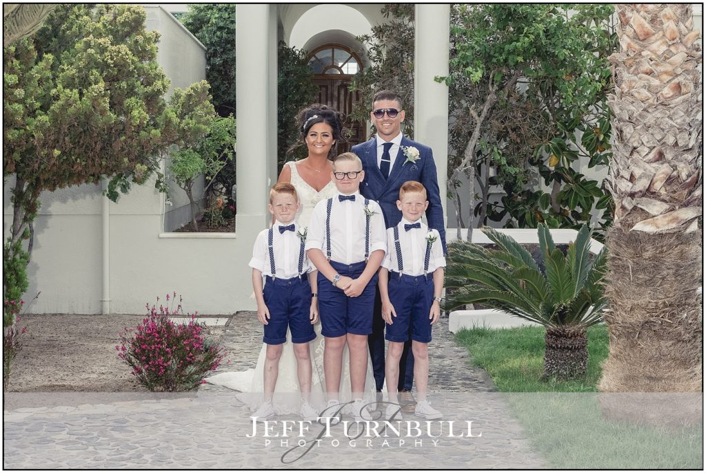 Bride, Groom, Pageboys Santorini Gem Wedding Photography
