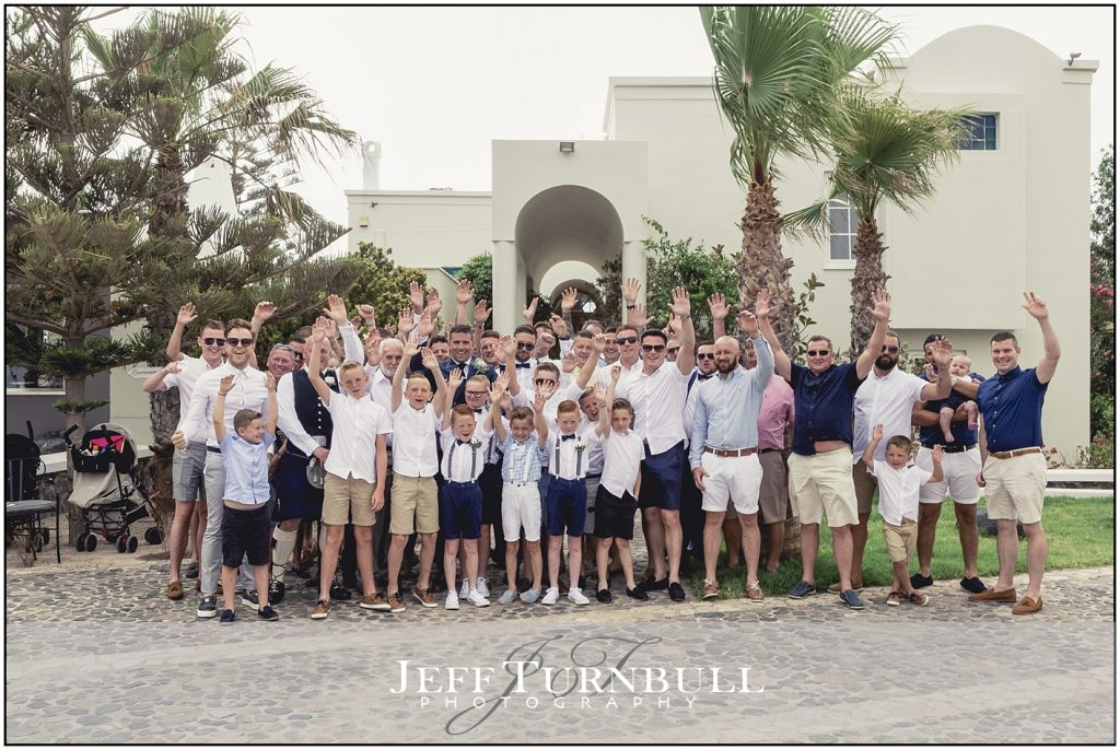 Wedding Guests Group Photo Santorini Gem
