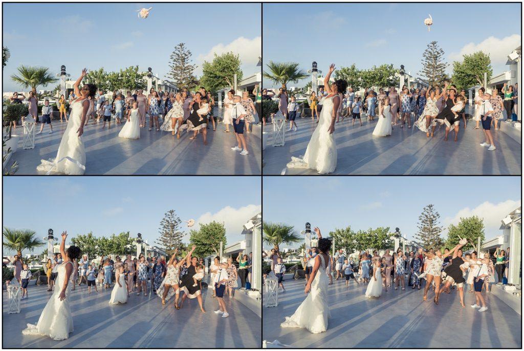 Throwing the Bouquet Santorini Gem Wedding