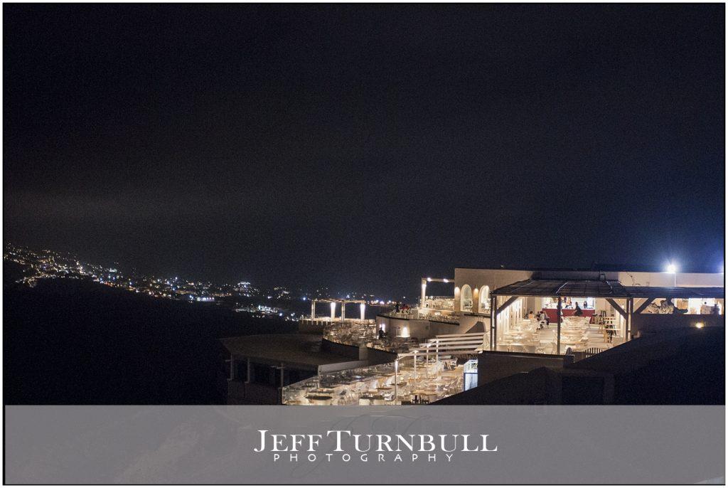 Nighttime Santorini Gem Wedding Venue
