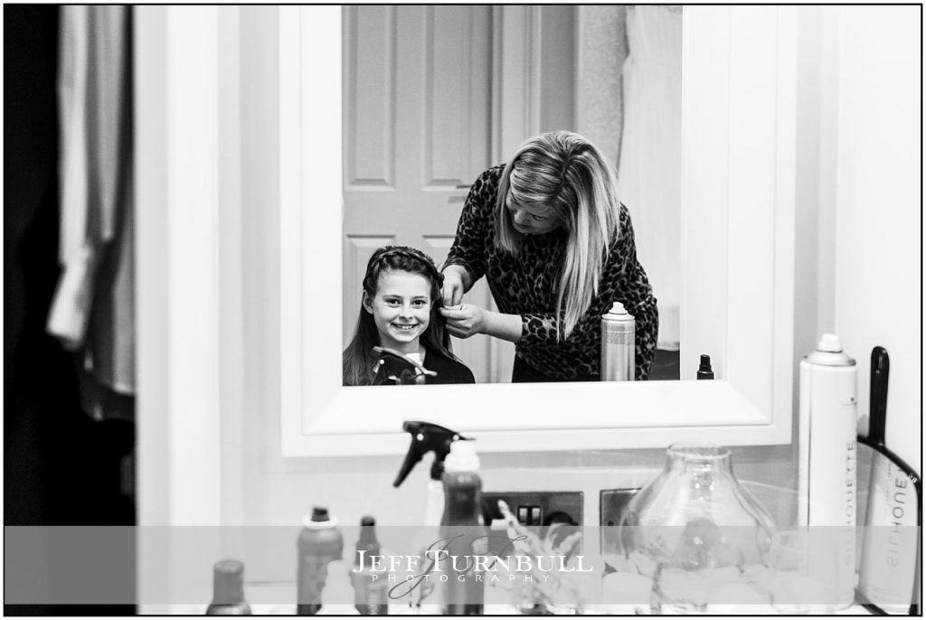 Bridesmaid With Hairdresser at Down Hall
