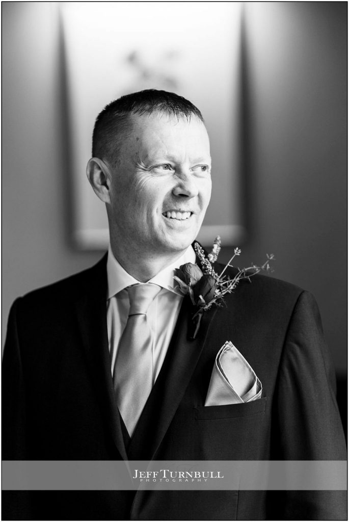 Black and White Groom Portrait at Down Hall