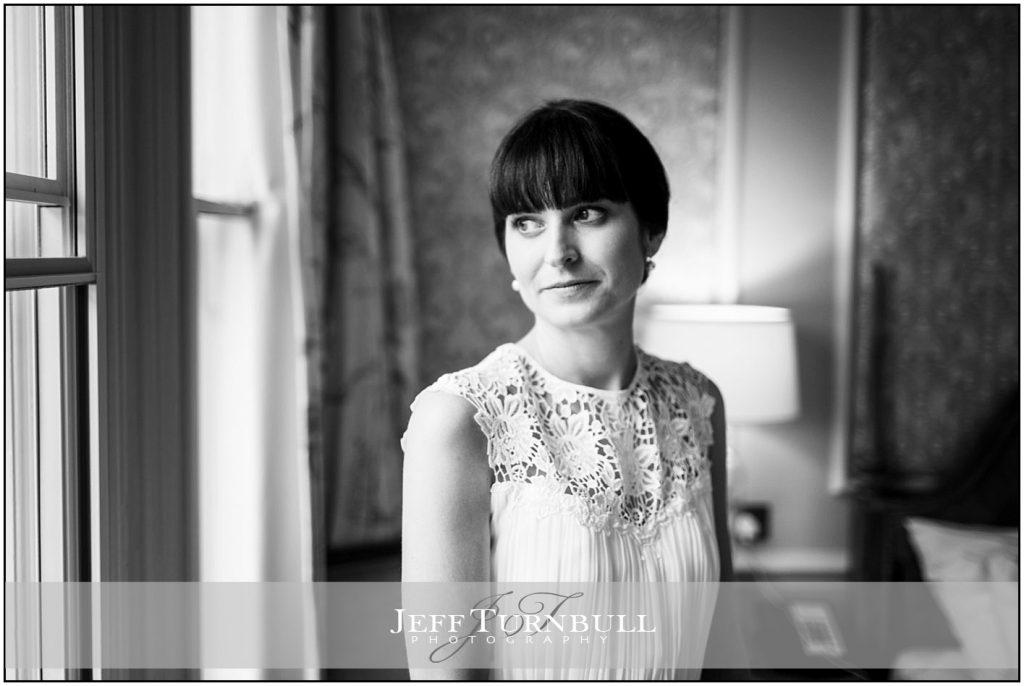 Black andWhite Bride Portrait at Down Hall