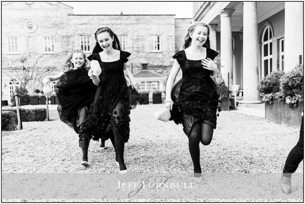 Bridesmaids and Pageboy Running