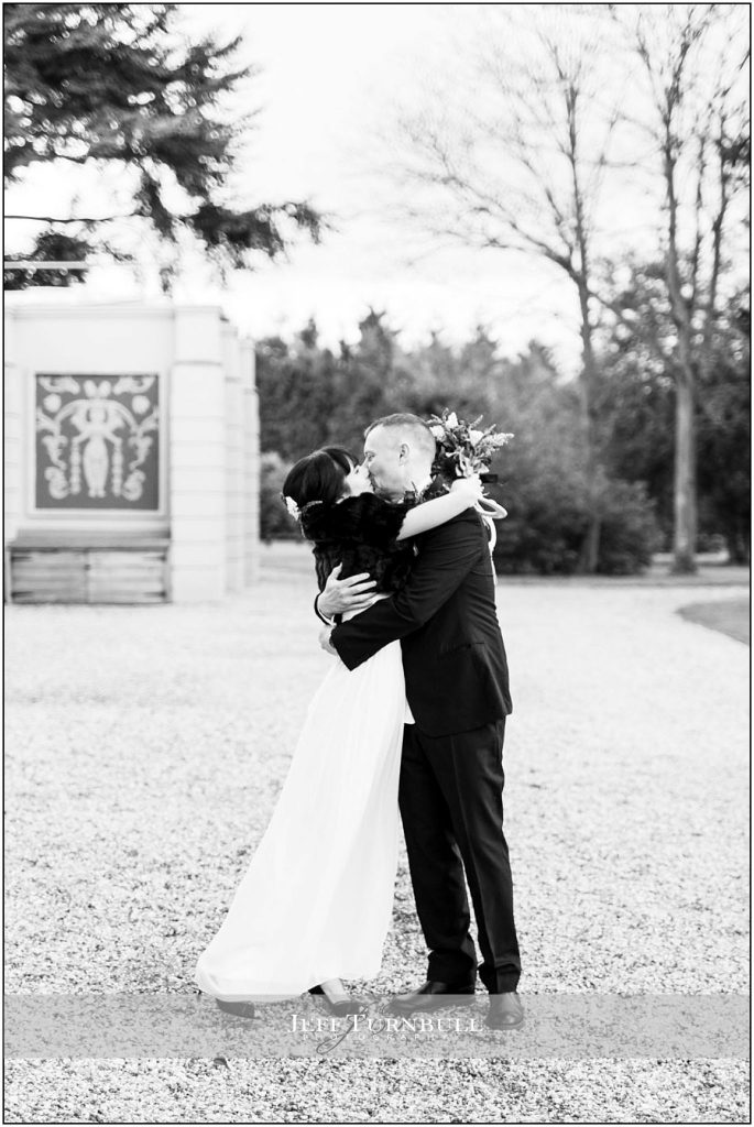 Bride and Groom Kissing at Down Hall