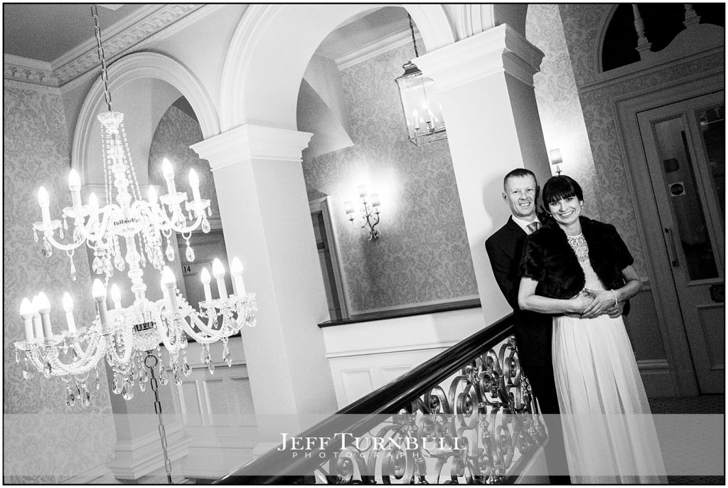 Bride and Groom Romantic Photograph Down Hall