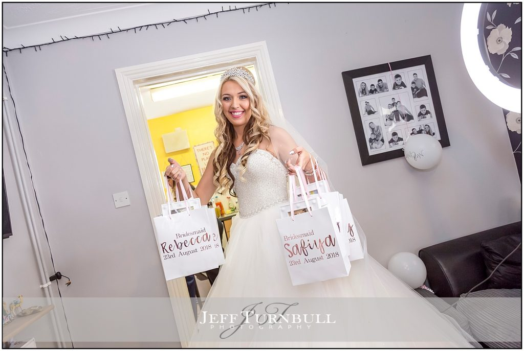 Bride With Gifts for Bridesmaids