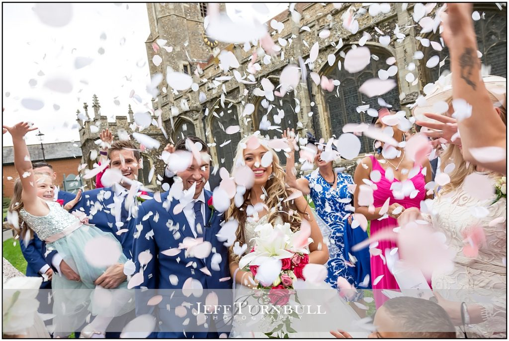 Wonderful Confetti on Bride and Groom