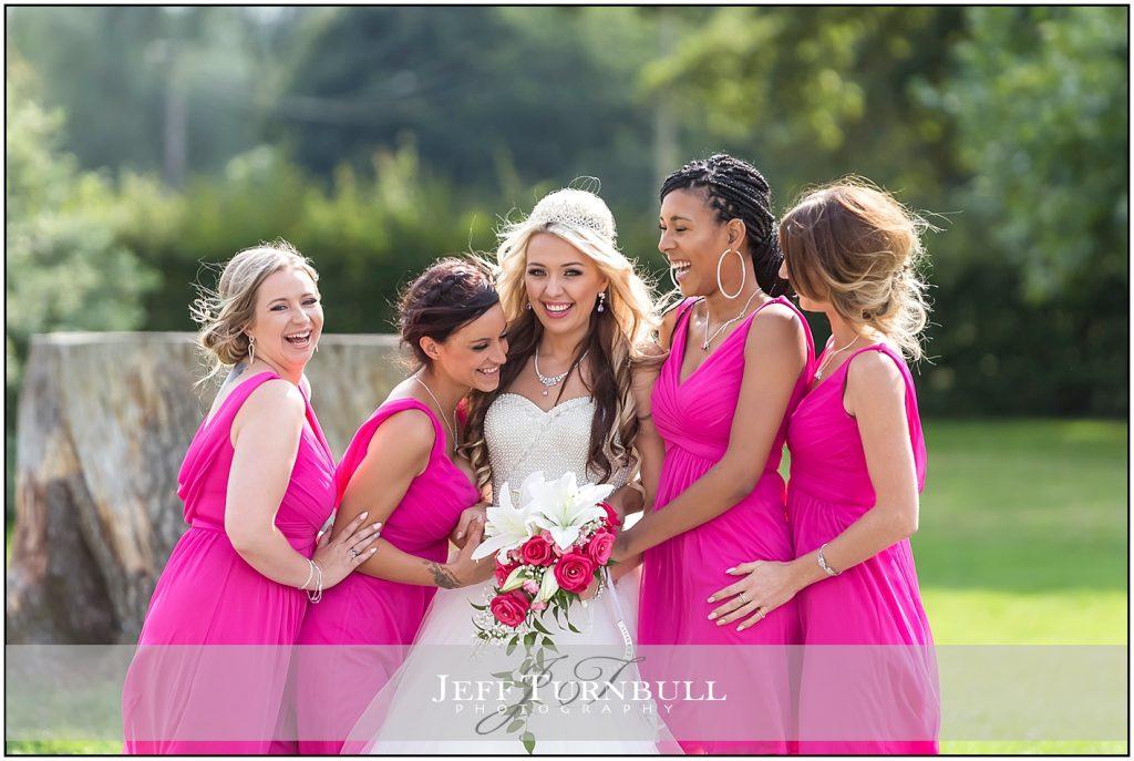 Bride and Bridemaids Having Fun