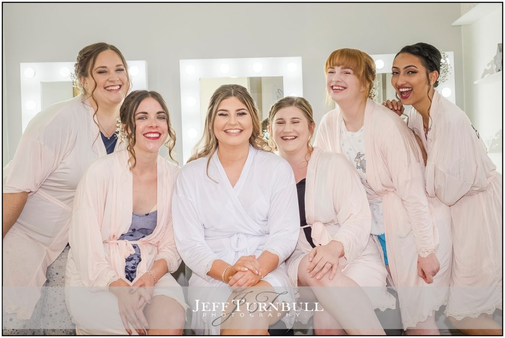 Bride and Bridesmaids wearing Robes