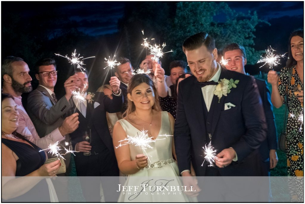 Bride and Groom Exit Sparklers Shot Fennes Wedding