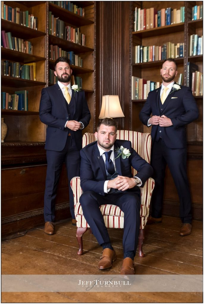 Groomsmen in Library Gosfield Hall
