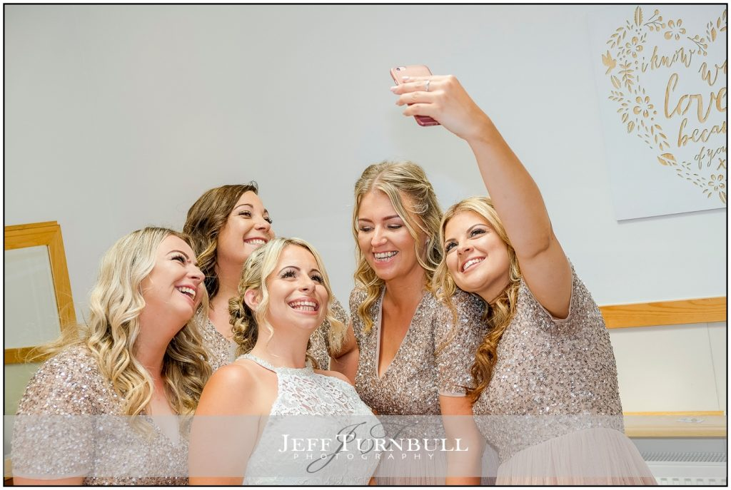 Bride and Bridesmaids Selfie Fun