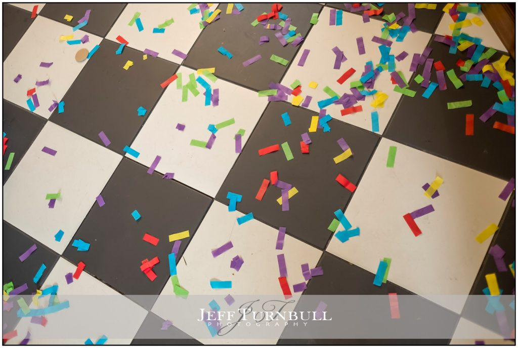 Confetti on Black and White Tiles