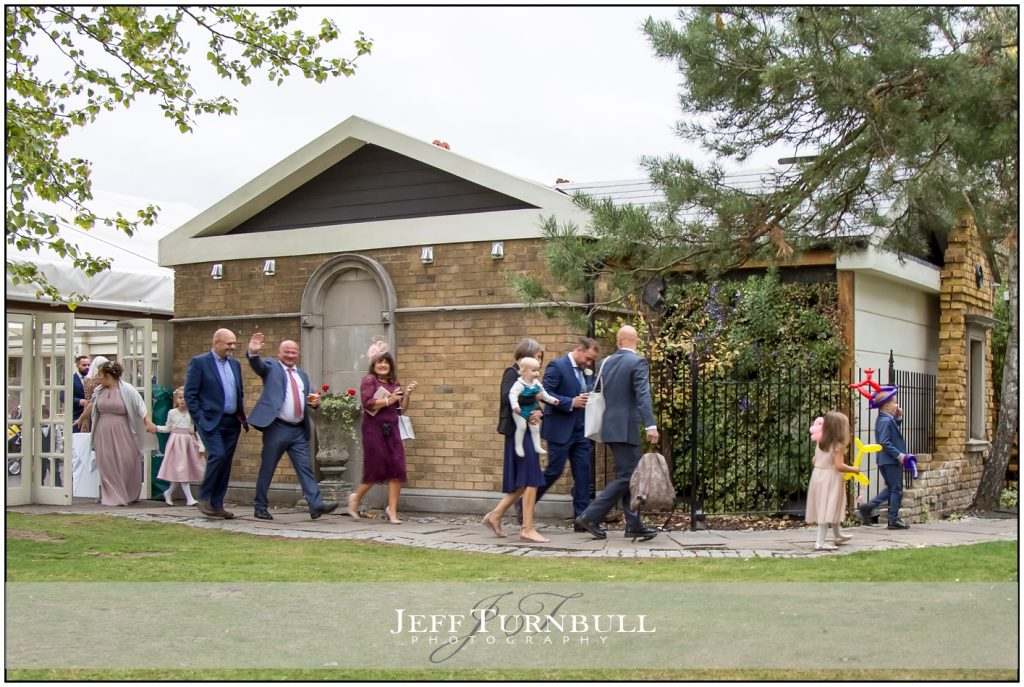 Wedding guests at Friern Manor