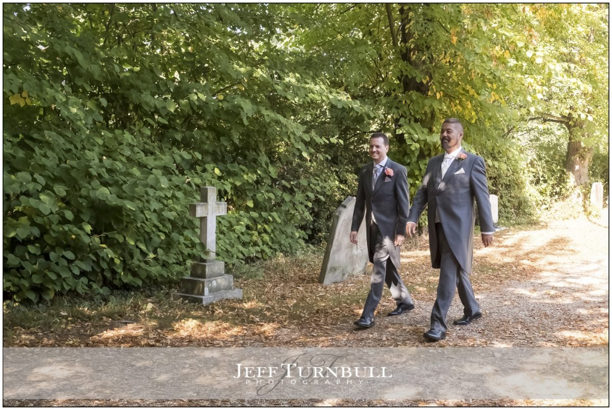 Groom and Best Man arrive at Church