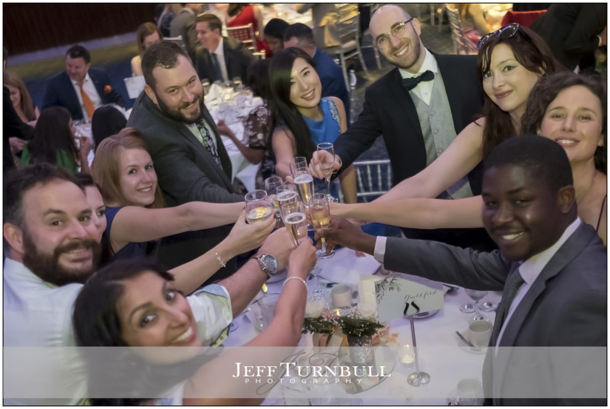 Guests toast the couple