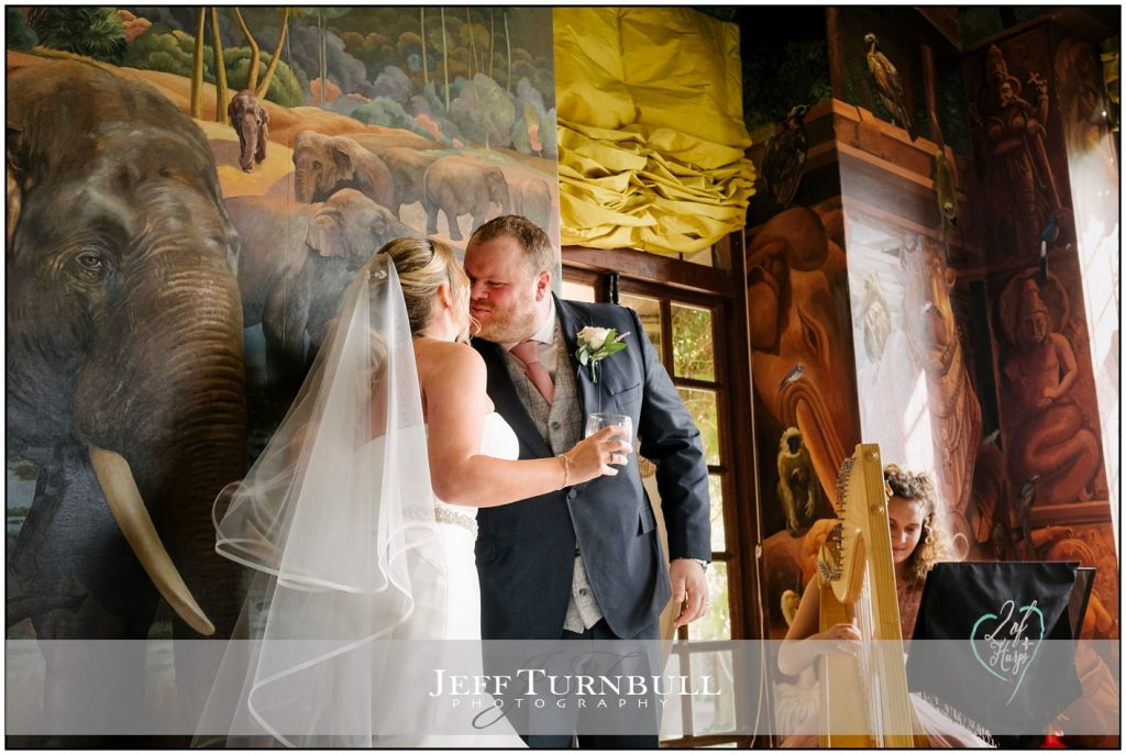 Bride and Groom Kissing Port Lympne Hotel