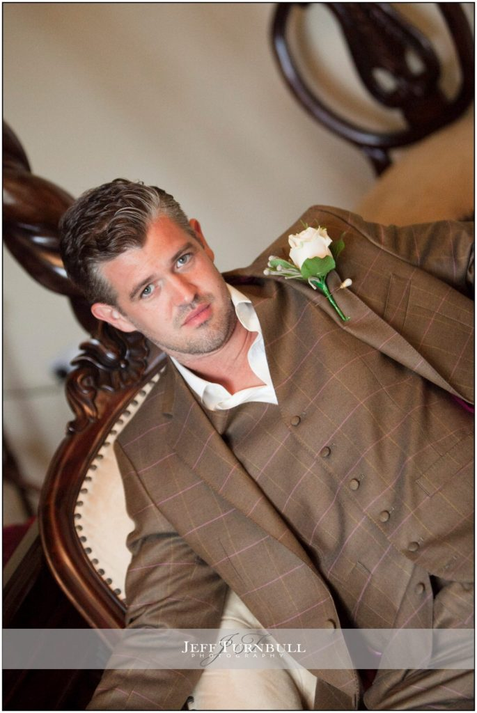 Groom sitting on a chair