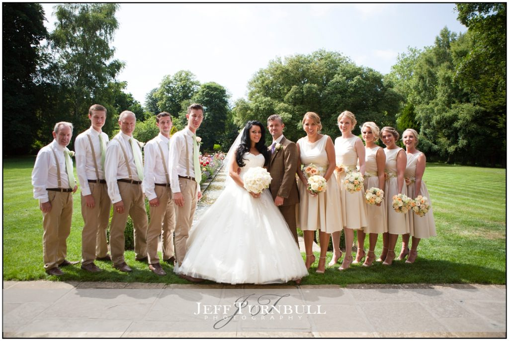 Bride and groom with ushers and bridesmaids