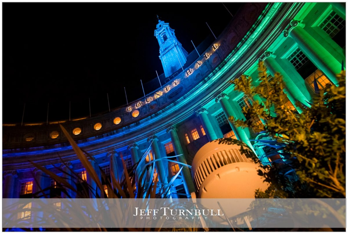 County Hall London Coloured Lights Night Time