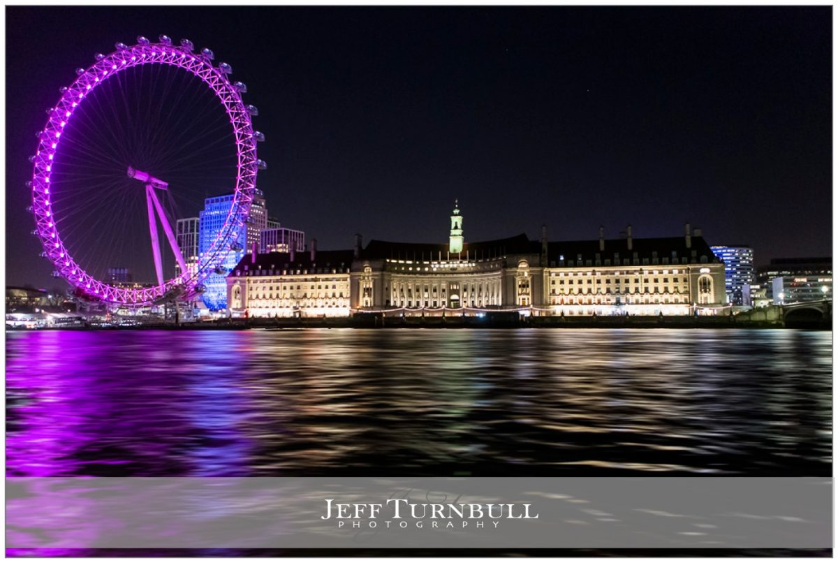 County Hall London and London Eye Lit Up at Night