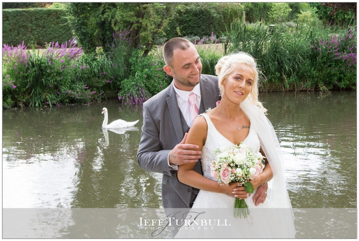 Bride and Groom and a Swan