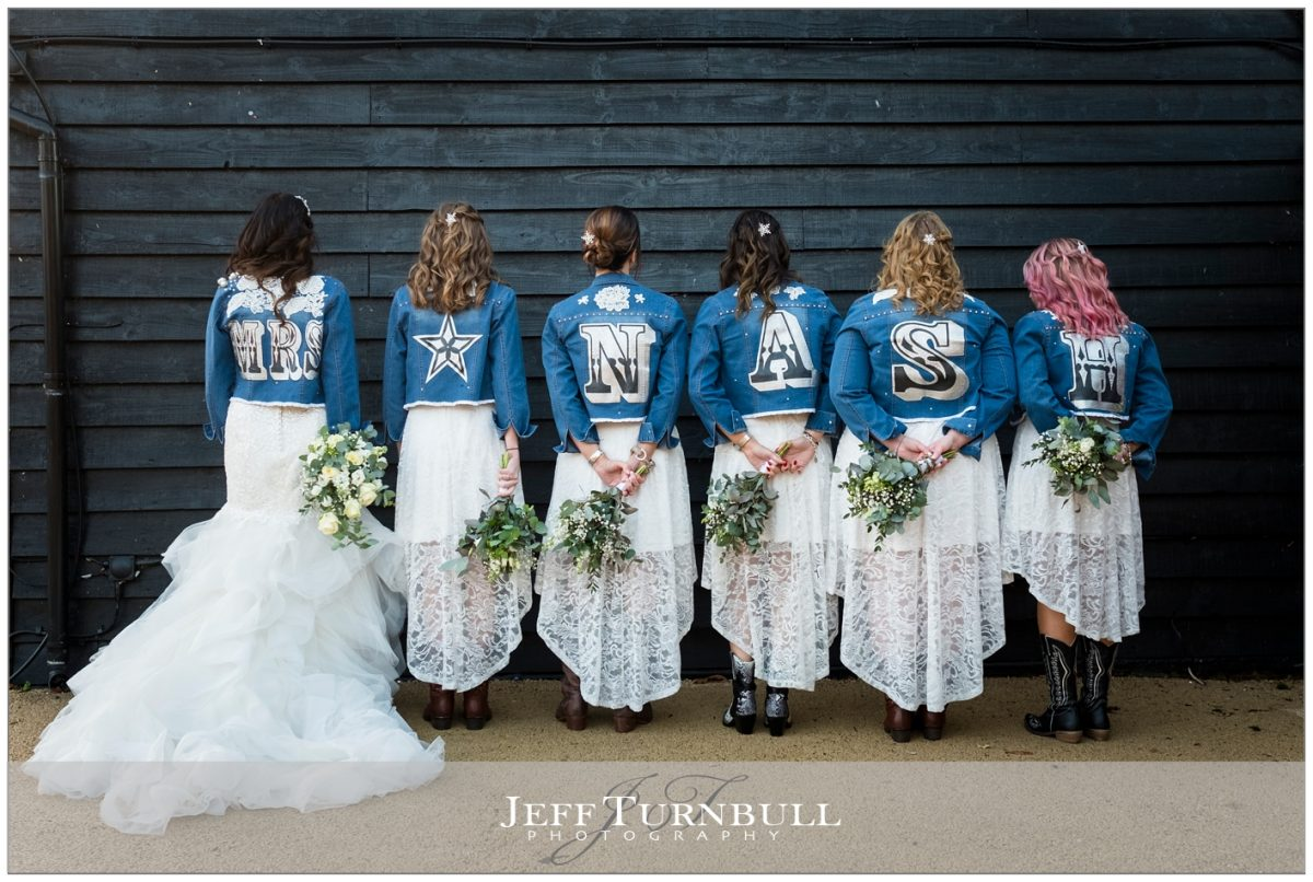 Bride and bridesmaids showed the reverse of that Jean jackets