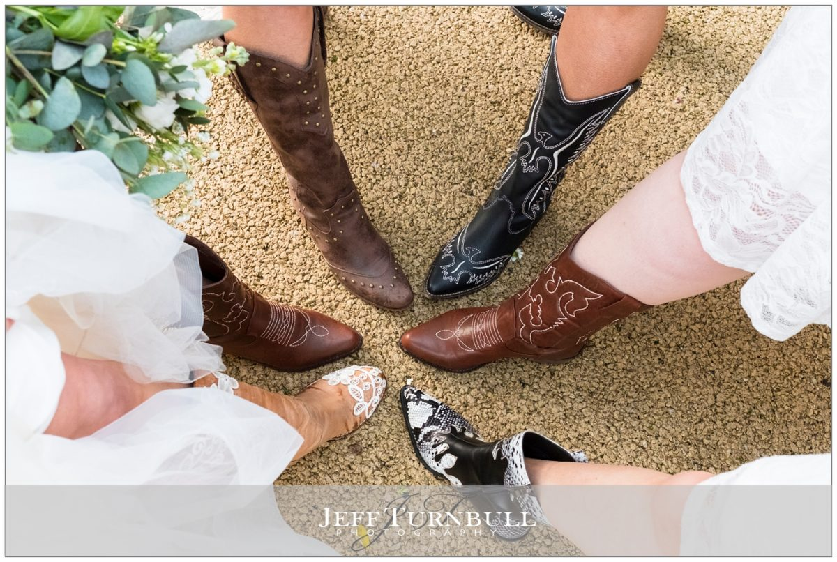 Bridesmaids and their cowgirl boots