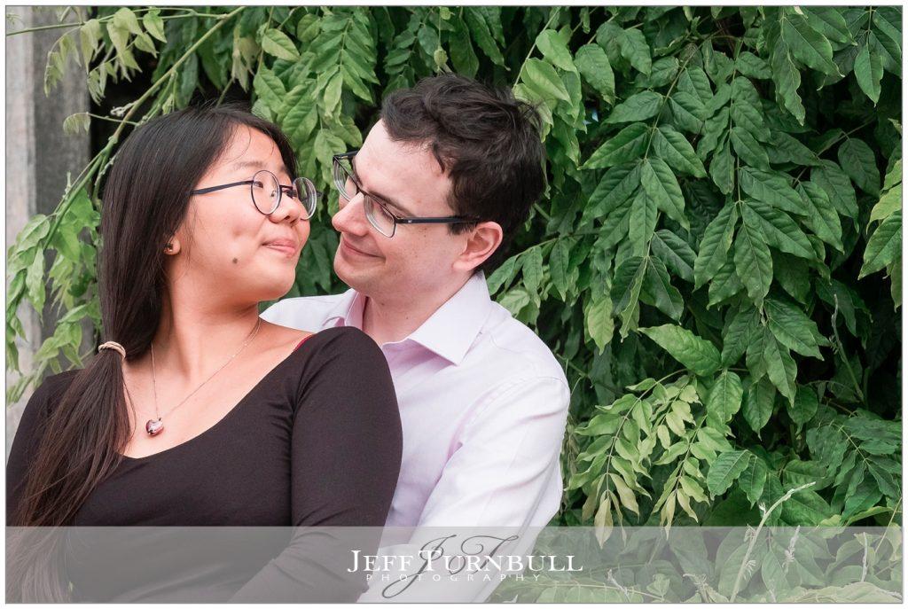 Engaged couple having a cuddle
