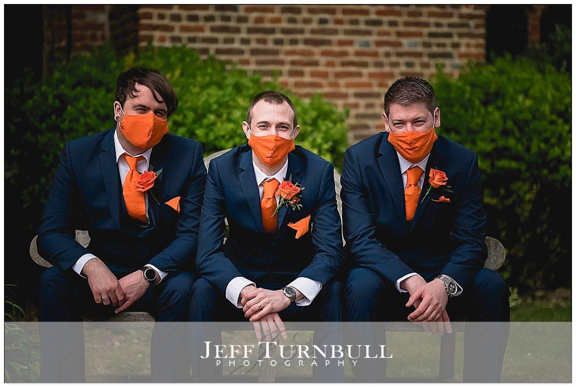Groomsmen wearing Covid Face Masks