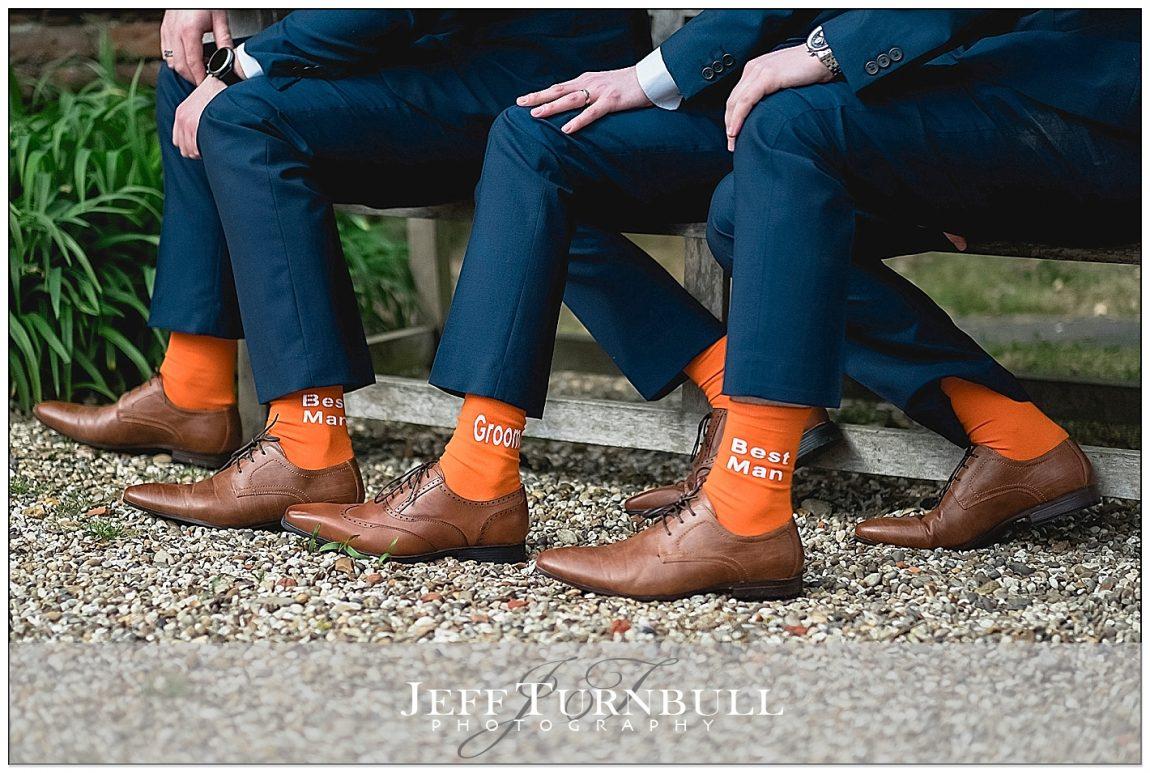 Groomsmen Wearing Matching Orange Socks