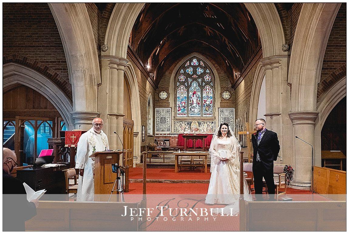 Socially Distance Wedding Bride and Groom
