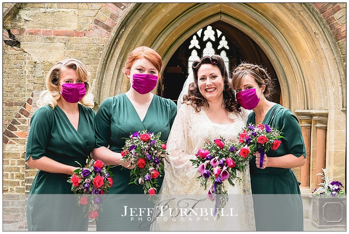 Bride and Bridesmaids outside Church